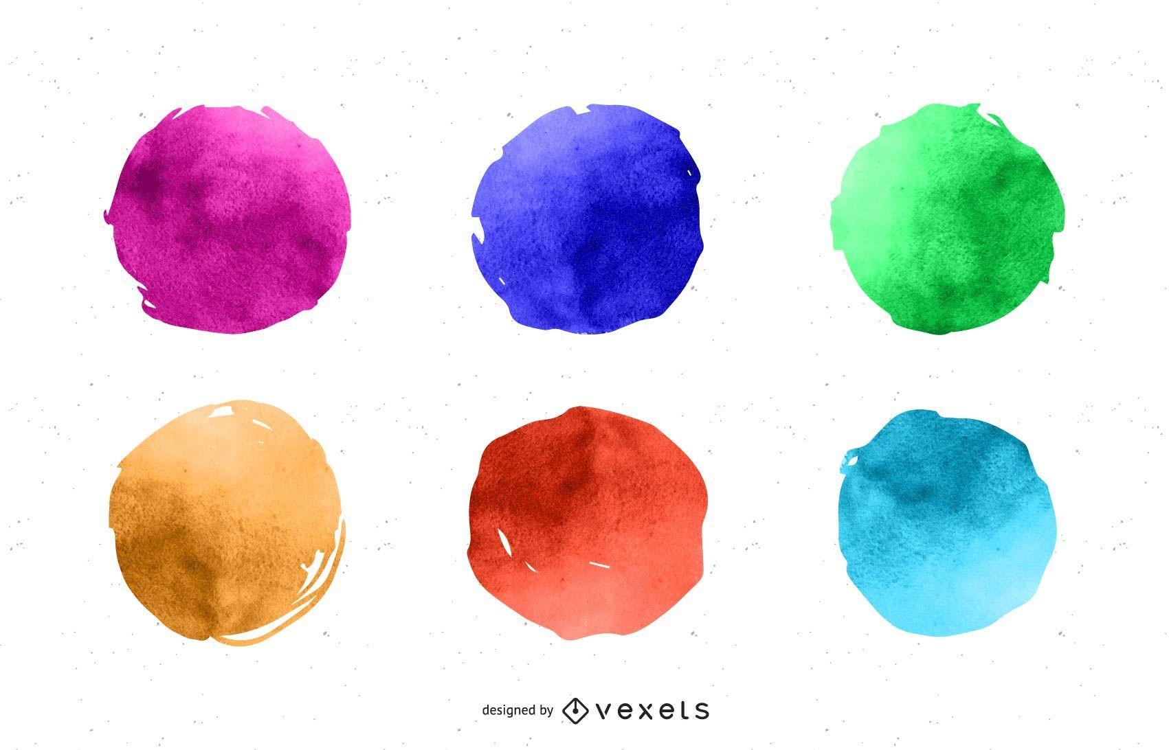 Watercolor paint circles set