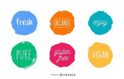 Conjunto de círculos de comida sana