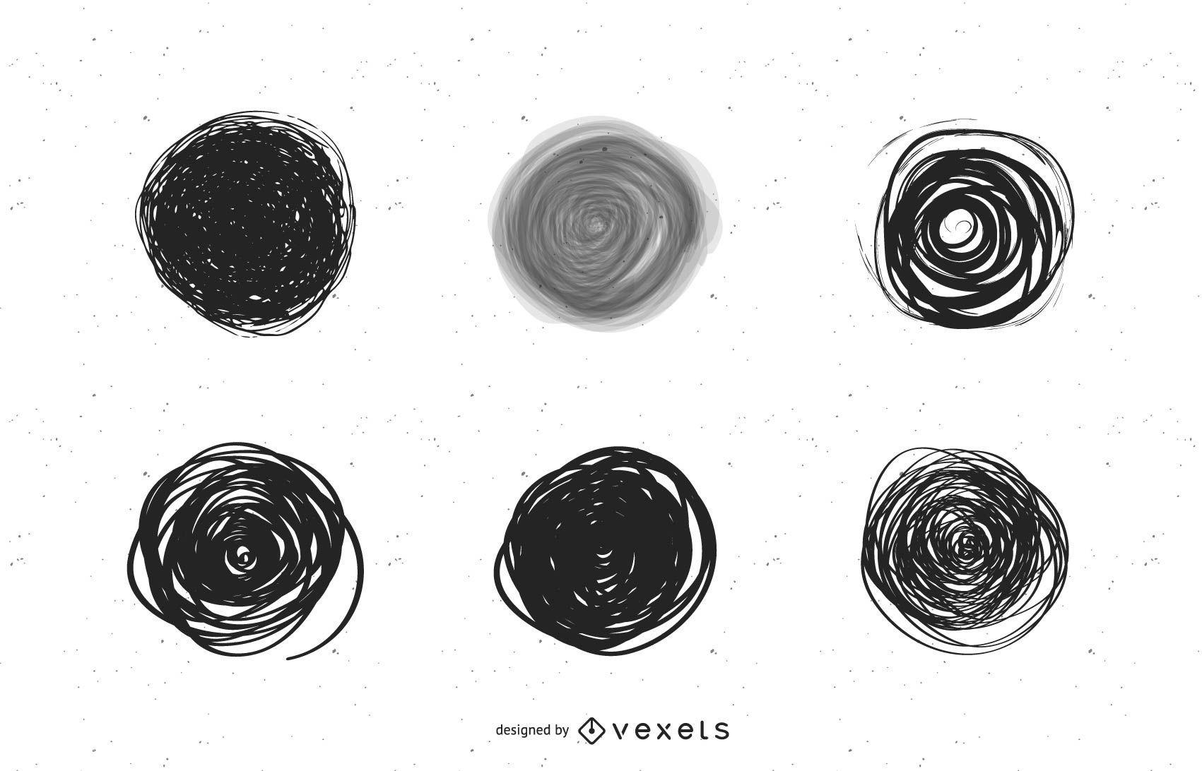 Conjunto de garabatos circulares