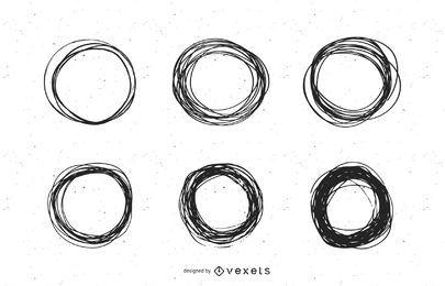 Conjunto de marcas de círculo rabiscado