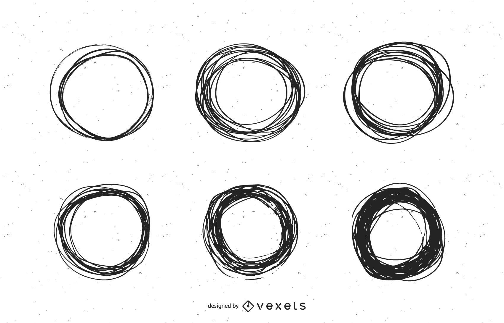 Conjunto de marcas de círculo de garabatos