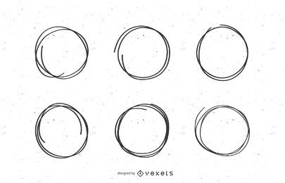 Conjunto de marcas circulares de garabatos.