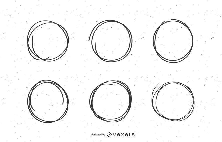 Conjunto de marcas de círculo de rabisco