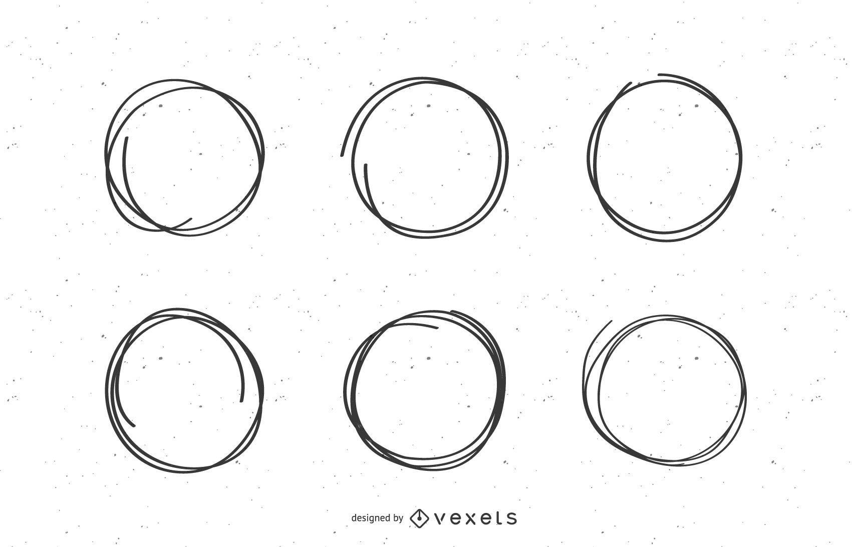 Scribble circle marks set