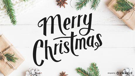 Frohe Weihnachten künstlerische Schriftzug