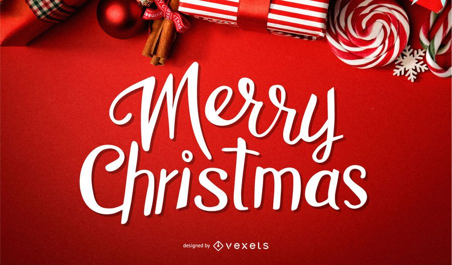 Merry Christmas greeting lettering