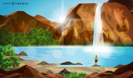 Canyon Waterfall Man Contemplating Scene Illustration