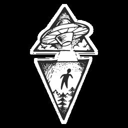 Tatuagem vintage de abdução alienígena
