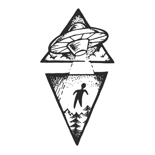 Tatuagem vintage de abdução alienígena Transparent PNG