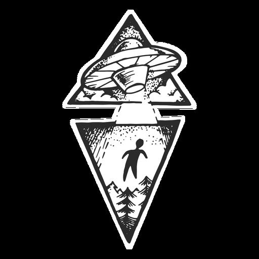 Tatuaje vintage de abducción alienígena