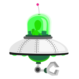 Alien in ufo icon