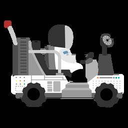 Icono de astronauta conduciendo un vehículo lunar.