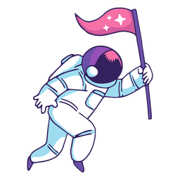 Astronaut, der Flaggenkarikatur hält