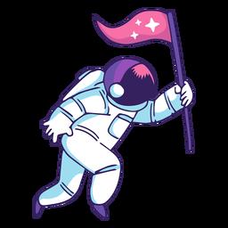 Astronauta segurando bandeira dos desenhos animados