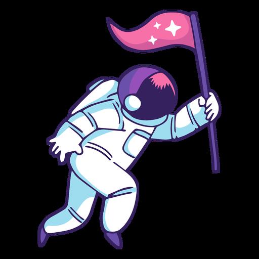Astronaut holding flag cartoon