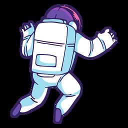 Astronauta vista trasera de dibujos animados