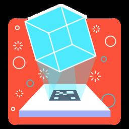 Proyección de realidad aumentada del cubo.
