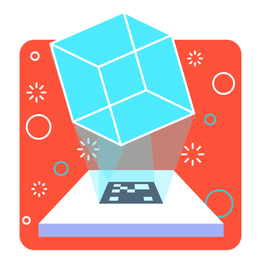 Augmented reality cube projection Transparent PNG