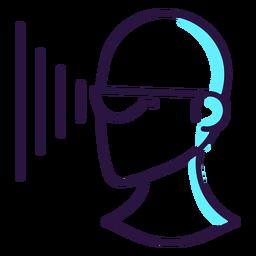 Icono de proyección de gafas de realidad aumentada.