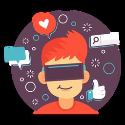 Ilustración de redes sociales de realidad aumentada.
