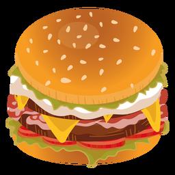 Icono de hamburguesa con queso y tocino