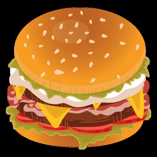 Icono de hamburguesa con queso tocino Transparent PNG