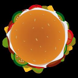 Icono de la vista superior de hamburguesa