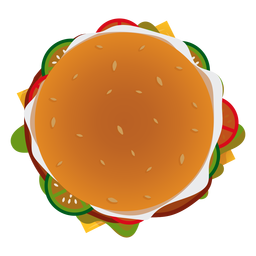 Icono de vista superior de hamburguesa