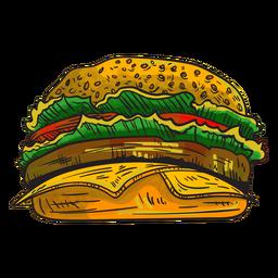 Dibujos animados de hamburguesa con queso