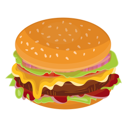 Icono plana de hamburguesa con queso
