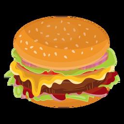 Icono plano de hamburguesa con queso