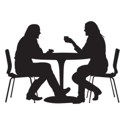 Couple sitting on dining table silhouette