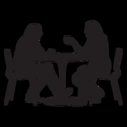 Par, sentando, ligado, jantando tabela, silueta