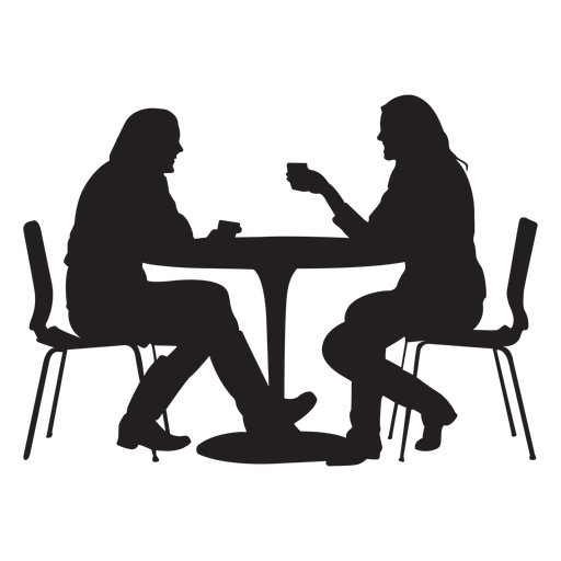 Couple sitting on dining table silhouette Transparent PNG