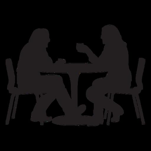 Pareja sentada en la mesa de comedor silueta Transparent PNG