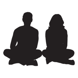 Couple sitting on ground silhouette