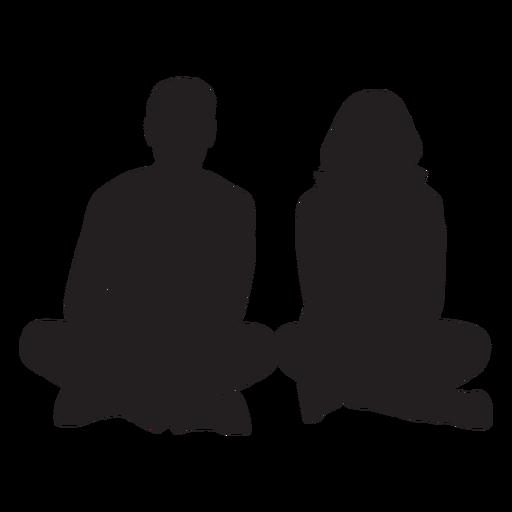 Pareja sentada en el suelo silueta Transparent PNG