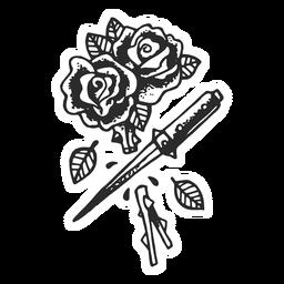 Corte, rosas, vindima, tatuagem