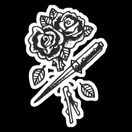 Cortar rosas tatuaje vintage