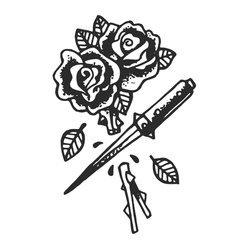 Cut roses vintage tattoo Transparent PNG