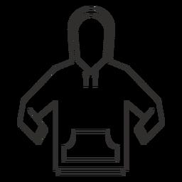 Ícone de traçado de moletom com capuz