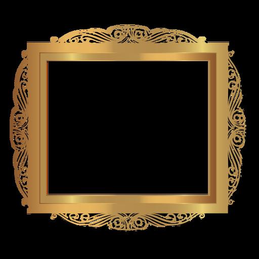 Elegant glossy golden frame Transparent PNG