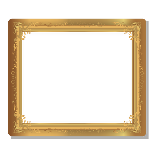 Floral swirls golden frame Transparent PNG