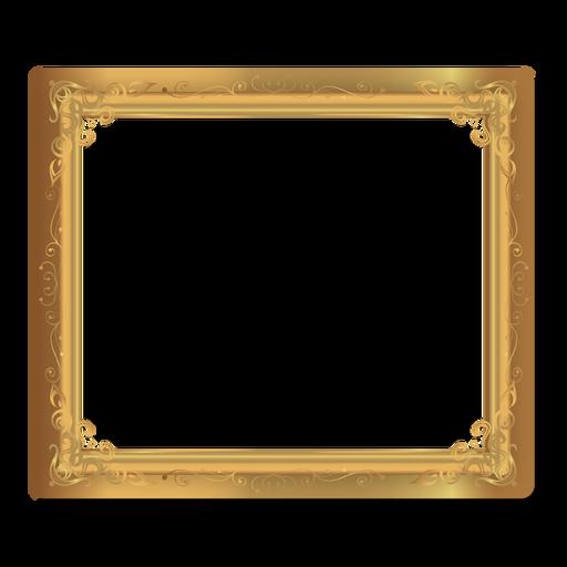 Remolinos florales con marco dorado. Transparent PNG