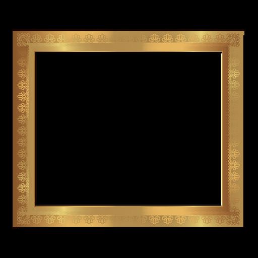 Glossy floral golden frame Transparent PNG