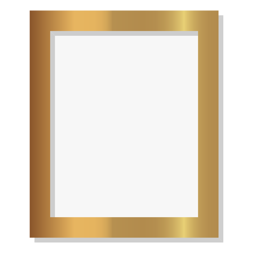 Glossy golden picture frame Transparent PNG