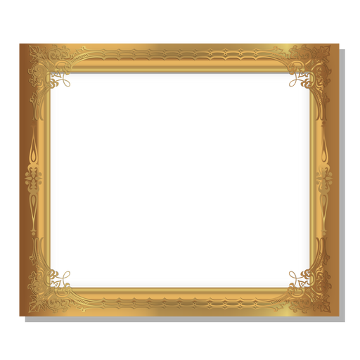 Glossy ornamental golden frame Transparent PNG