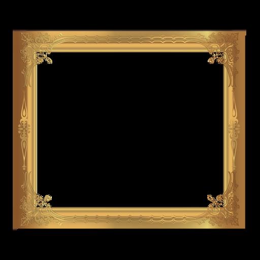 Marco dorado ornamental brillante Transparent PNG