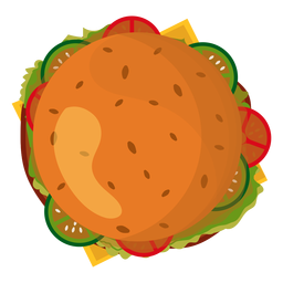 Hamburger top view icon
