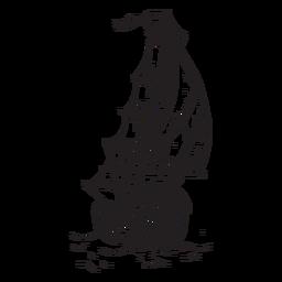 Navio de brig desenhados à mão